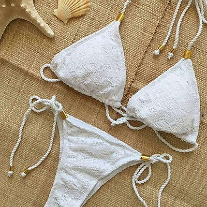 Biquíni de Crochê Branco Jaguaré - Biquíni de Crochê Adulto